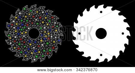 Glowing Mesh Circular Saw Blade Icon With Glow Effect. Abstract Illuminated Model Of Circular Saw Bl