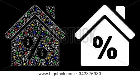 Glossy Mesh Mortgage Discount Icon With Glow Effect. Abstract Illuminated Model Of Mortgage Discount