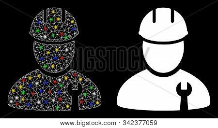 Glowing Mesh Repairman Icon With Glow Effect. Abstract Illuminated Model Of Repairman. Shiny Wire Ca
