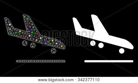Glowing Mesh Airplane Arrival Icon With Glare Effect. Abstract Illuminated Model Of Airplane Arrival