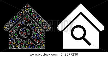 Glossy Mesh Find Building Icon With Sparkle Effect. Abstract Illuminated Model Of Find Building. Shi
