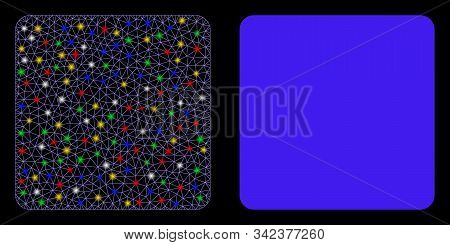 Glowing Mesh Filled Square Icon With Glow Effect. Abstract Illuminated Model Of Filled Square. Shiny