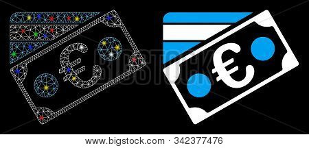Glossy Mesh Euro Banknote And Credit Card Icon With Glare Effect. Abstract Illuminated Model Of Euro