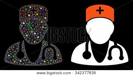 Glowing Mesh Physician Icon With Glitter Effect. Abstract Illuminated Model Of Physician. Shiny Wire
