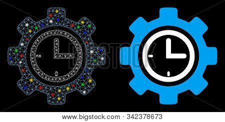 Glowing Mesh Time Setup Gear Icon With Glare Effect. Abstract Illuminated Model Of Time Setup Gear.