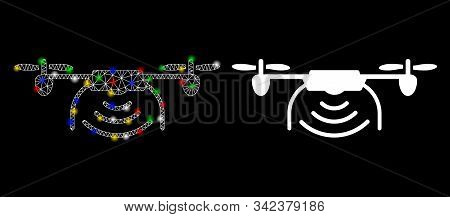 Flare Mesh Radio Spy Drone Icon With Sparkle Effect. Abstract Illuminated Model Of Radio Spy Drone.
