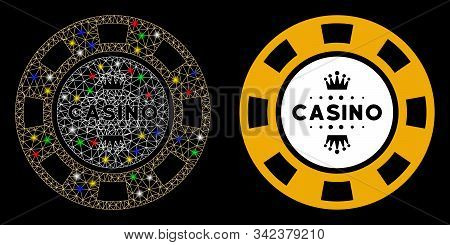 Flare Mesh Royal Casino Chip Icon With Sparkle Effect. Abstract Illuminated Model Of Royal Casino Ch