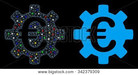 Flare Mesh Euro Machinery Gear Icon With Lightspot Effect. Abstract Illuminated Model Of Euro Machin