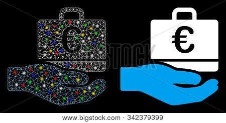 Glossy Mesh Euro Accounting Hand Icon With Sparkle Effect. Abstract Illuminated Model Of Euro Accoun