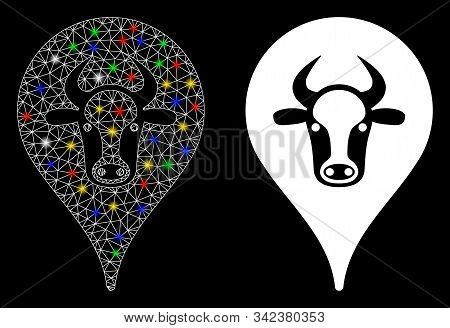 Glossy Mesh Cattle Marker Icon With Lightspot Effect. Abstract Illuminated Model Of Cattle Marker. S