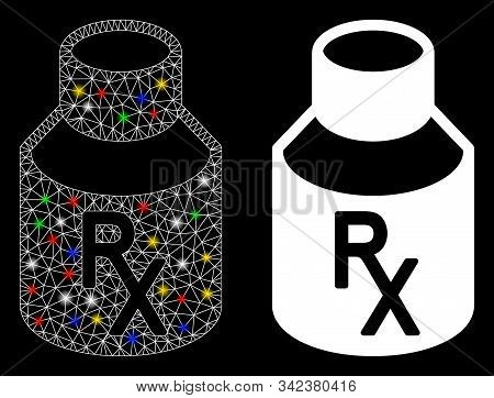 Bright Mesh Mixture Bottle Icon With Glitter Effect. Abstract Illuminated Model Of Mixture Bottle. S