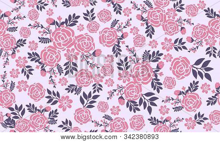 Romantic Pink Flower For Valentine, With Modern Leaf And Floral Pattern Decor.