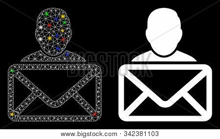 Glowing Mesh Mail Recipient Icon With Glare Effect. Abstract Illuminated Model Of Mail Recipient. Sh