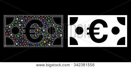 Glossy Mesh Euro Banknote Icon With Lightspot Effect. Abstract Illuminated Model Of Euro Banknote. S