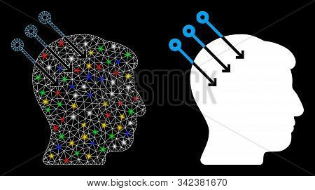 Glowing Mesh Neural Interface Connectors Icon With Glow Effect. Abstract Illuminated Model Of Neural