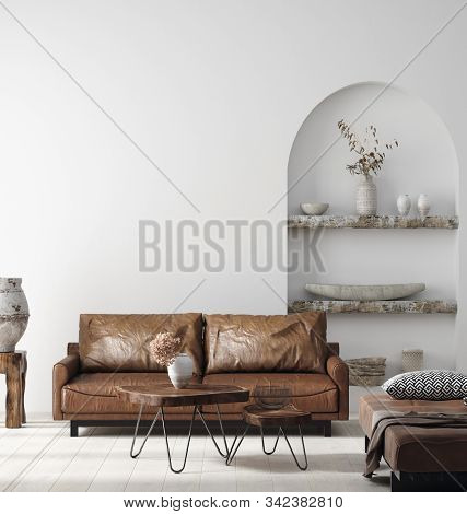 Wall Mock Up In Scandi-boho Home Interior With Retro Brown Leather Furniture, 3d Illustration