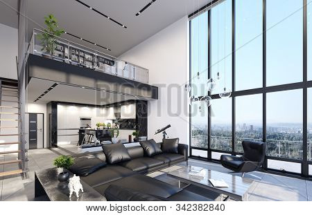 Luxury Modern Penthouse Interior With Panoramic Windows, 3d Illustration