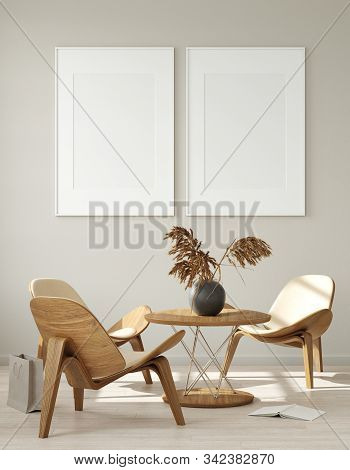 Mock Up Poster Frame In Modern Living Room Interior. Interior Scandinavian Style. 3d Illustration