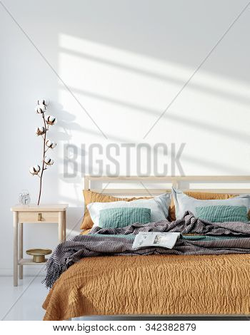 Mock Up Frame, Wall In Home Interior Background, Bohemian Bedroom, Scandinavian Style, 3d Illustrati