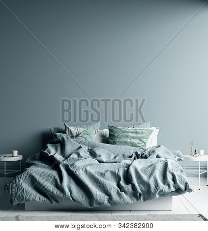Dark Cold Blue Bedroom Interior With Linen Sheet On Bed, Wall Mock Up, 3d Illustration