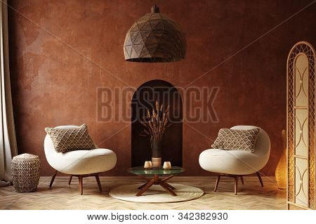 Cozy Home Interior, Luxury Living Room With Natural Wooden Furniture, 3d Illustration