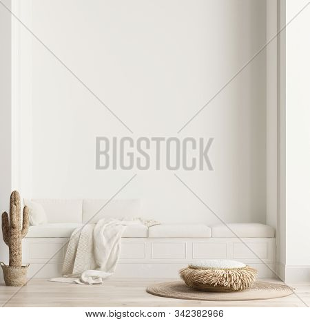 Minimalist Modern Living Room Interior Background, Scandinavian Style, 3d Illustration