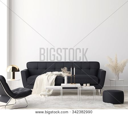 Minimalist Modern Living Room Interior Background, 3d Illustration