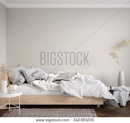 Scandinavian Bedroom Interior, Wall Mockup, 3d Illustration