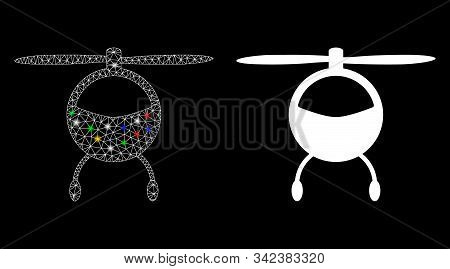 Glossy Mesh Helicopter Chopper Icon With Lightspot Effect. Abstract Illuminated Model Of Helicopter