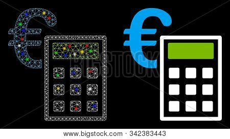 Glowing Mesh Euro Accounting Icon With Glow Effect. Abstract Illuminated Model Of Euro Accounting. S