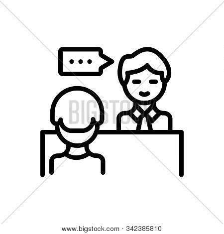 Black Line Icon For Advice Counsel Rede Preaching Sermon Instruction Edification