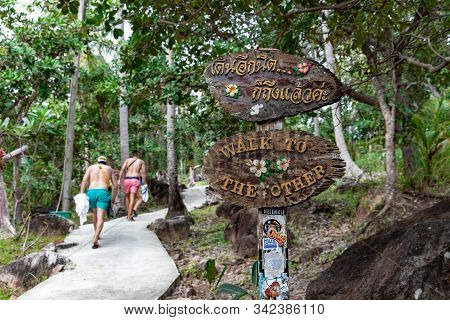 Phi Phi Island, Thailand - November 24 2019: Tourists Hikinh Their Way To Viewpoint 2 On Top Of A Hi