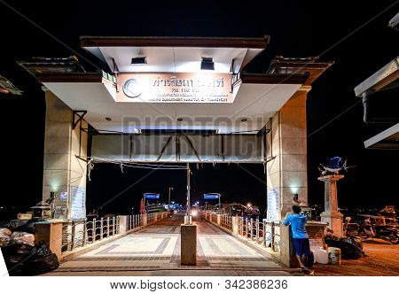 Phi Phi Island, Thailand - November 24 2019: Deserted Ao Tonsai Pier At Night. This Pier Is The Main