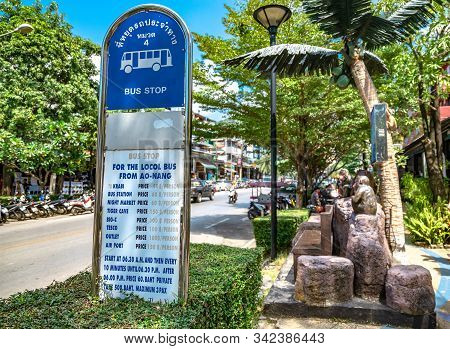 Krabi Town, Thailand - November 24 2019: Ao Nang Bus Stop Is Located Right At The Edge Of The Street