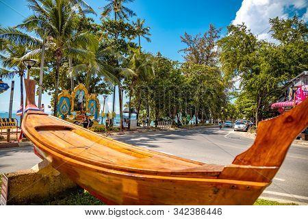 Krabi Town, Thailand - November 24 2019: Ao Nang Beach And Andaman Sea In Krabi Town. I Love Krabi T