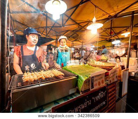 Krabi Town, Thailand - November 23 2019: Locals Selling Seafood At Krabi Weekend Night Market In Kra