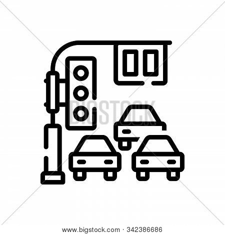 Black Line Icon For Traffic Transport Carriage Marching Stoplight Signal  Light Road Street