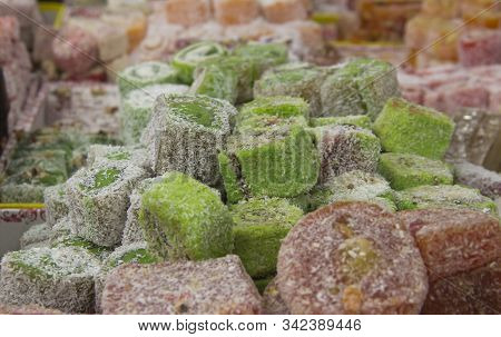 Assorted Traditional Turkish Delight . Traditional Sweets, Rahat Lukum In Counter In The Market.
