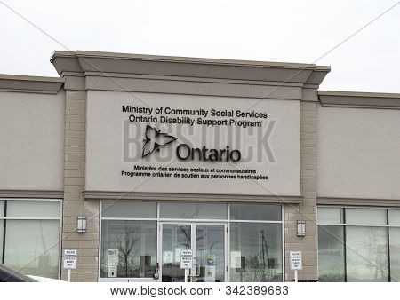 Brantford, Ontario / Canada - December 30 2019 Ministry Of Community Social Services Ontario Disabil
