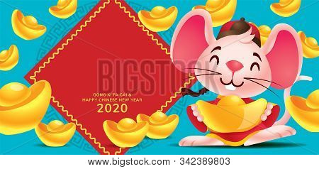 Chinese New Year 2020. Cute Rat Mice Holding Gold Ingot With Large Amount Of Gold Ingots Falling Dow