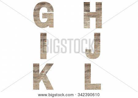 Font Wood Alphabet G, H, I, J, K, L Isolated On White Background. Nature Concept.