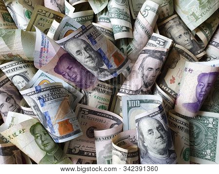 Chinese Banknotes And American Dollar Money Unorganized
