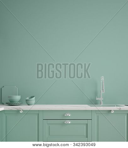 Kitchen In Neo Mint Color, Wall Poster Mock Up, 3d Illustration