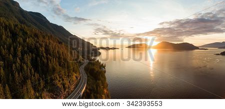 Sea To Sky Hwy In Howe Sound Near Horseshoe Bay, West Vancouver, British Columbia, Canada. Aerial Pa