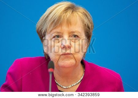 Berlin,germany,october 2019,germany Chancellor Angela Merkel In Senate Committee Meeting