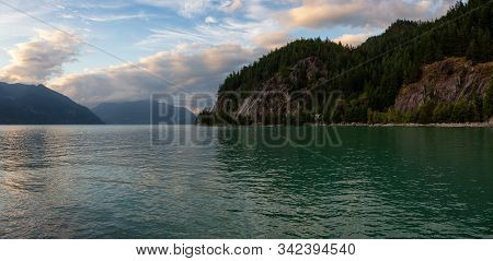Beautiful Panoramic View Of Howe Sound Surrounded By Canadian Mountain Landscape During Summer Sunse