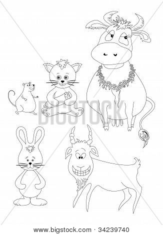 Set cartoon animals, outline