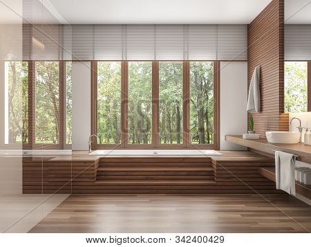 Wood Bathroom Modern Contemporary Style 3d Render.decorate Wall And Floor With Wood .there Are Large