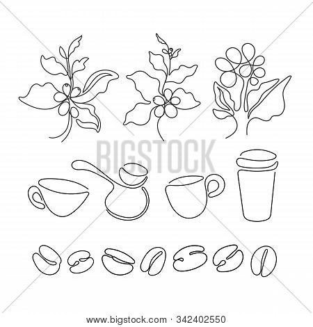 Coffee Set. Vector Art Sign. Black Art Sketch Of Leaf, Natural Bean, Cup, Cezve On White Background.