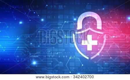 Abstract Medical And Health Care Background, Medical Security Lock Icon Logo Design Element, Securit